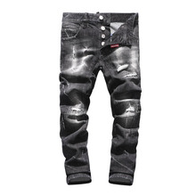 New Fashion Black Punk Style Hole Jeans For Men European American Style Men's Slim Jeans Straight Zipper Jeans Pencil Pants