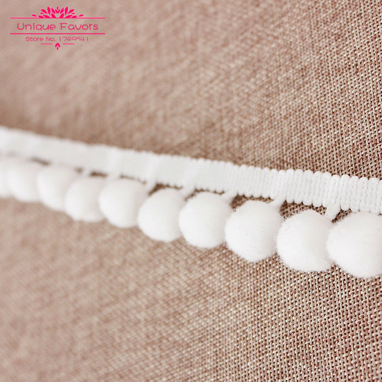 50yards white pompom ball trim braid bobble pom pom lace. Black Bedroom Furniture Sets. Home Design Ideas