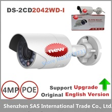 Free shipping Hikvision DS-2CD2042WD-I English version 4MP IR mini Bullet ip Camera, P2P CCTV camera POE,1080P ip cctv camera