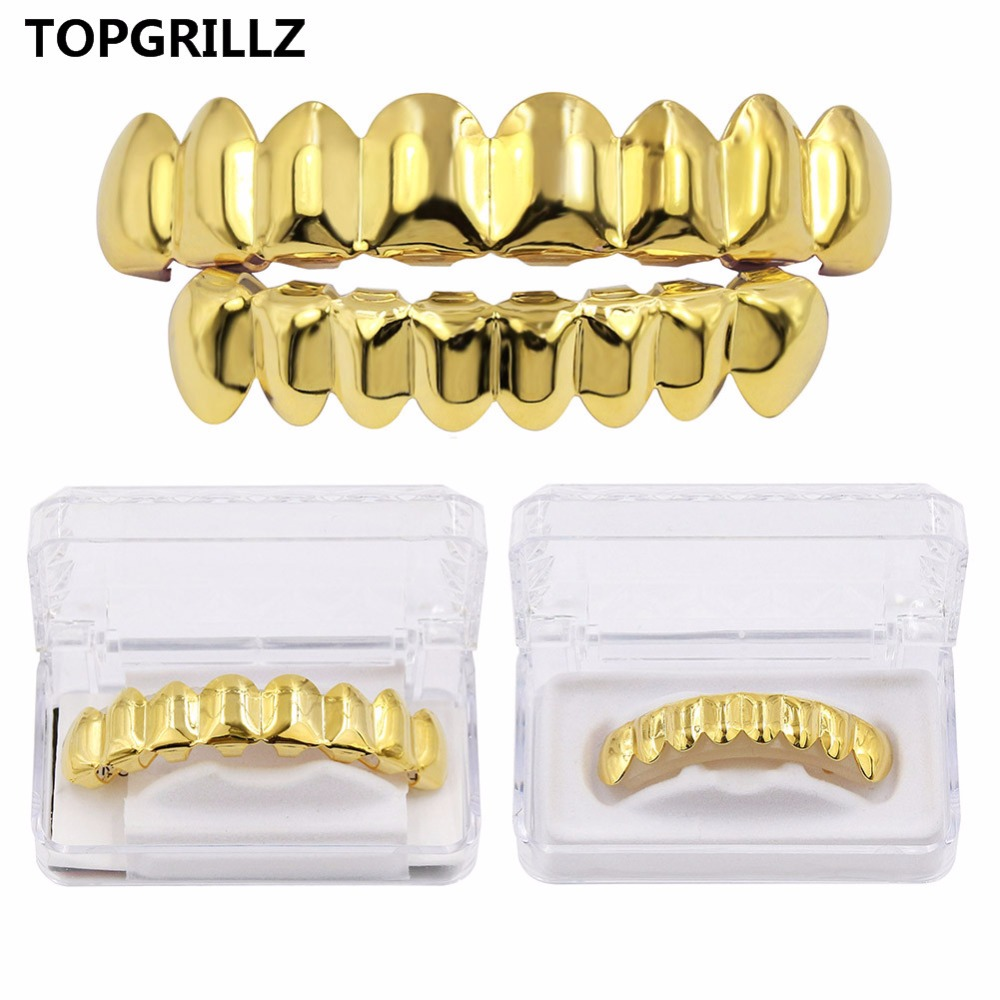 TOPGRILLZ Grillz Set Gold Finish Eight 8 Top Teeth & 8 Bottom Tooth Plain Hip Hop Grills