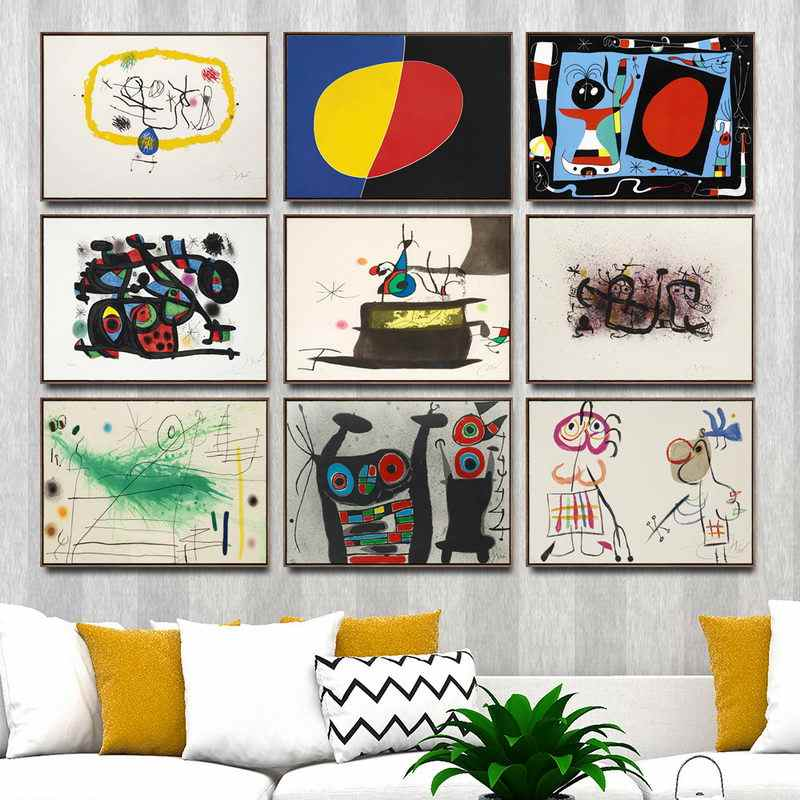 Canvas Pictures Wall Art HD Prints Home Decoration Spanish Joan Miro Paintings Nordic Creative Poster Modular For Children Room