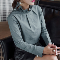 Long Sleeve Blue Blouse Women Pearl Button Shirts Female 2018 Spring Winter Ruffled Stand Fashion Vintage