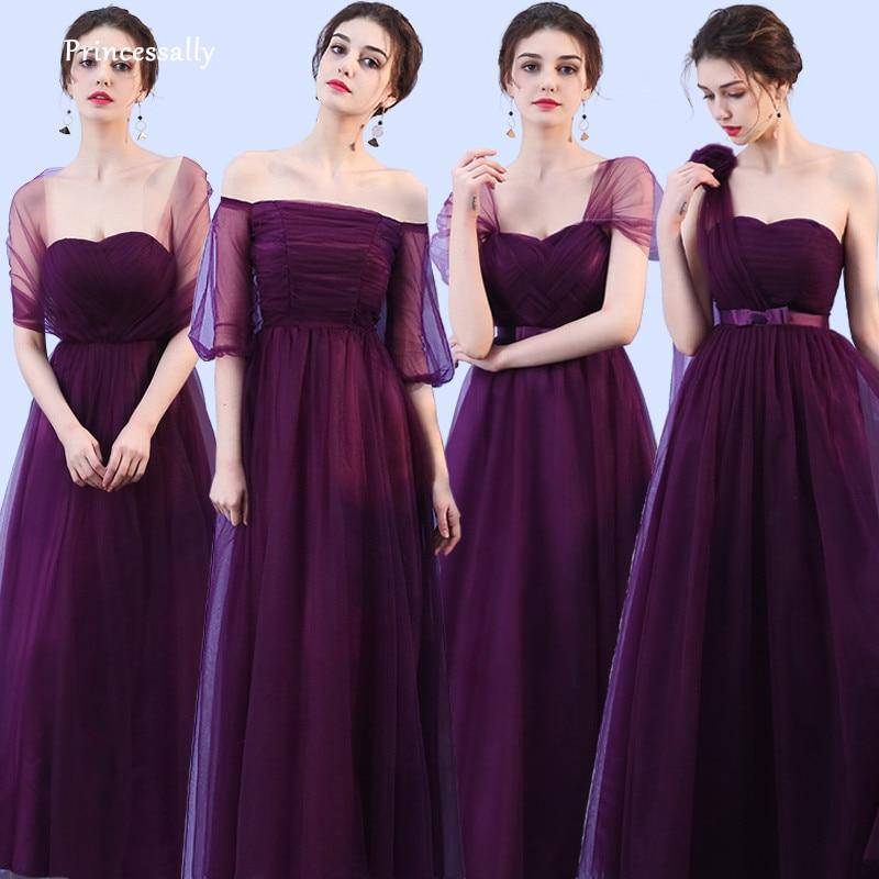 New Dark Purple Bridesmaid Dress Long Mixed Styles Pleat Sweetheart Eggplant Formal Bride Prom Party Graduation Gown Vestidos