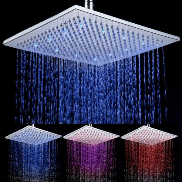 8030-A7 12 pouces carré salle de bains lumière LED pluie 3 couleur clignotant capteur de température LED pomme de douche de qualité supérieure