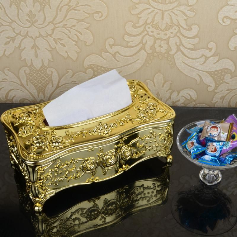 Luxury Gold Tissue Box Cover Chic Napkin Case Holder Hotel Home Decor Organizer