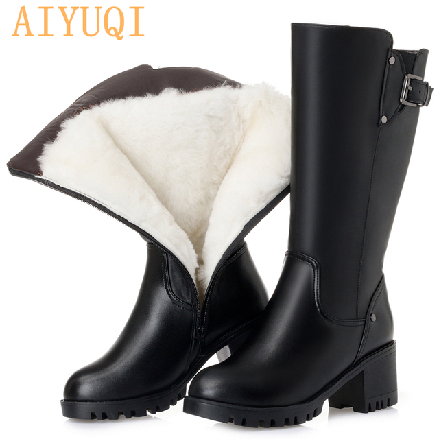 Big size women winter boots 2019 new genuine leather women motorcycle boots, warm wool trend high boots Martin boots women