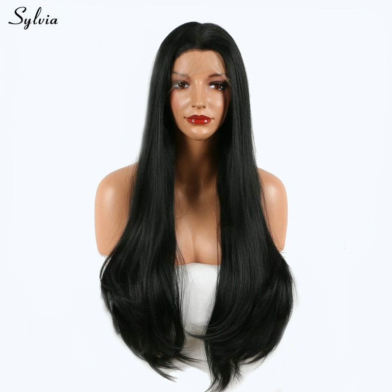 Sylvia Long Black Wig Natural Hairline Synthetic Straight Lace Front Wig Heat Resistant Fiber Wigs For