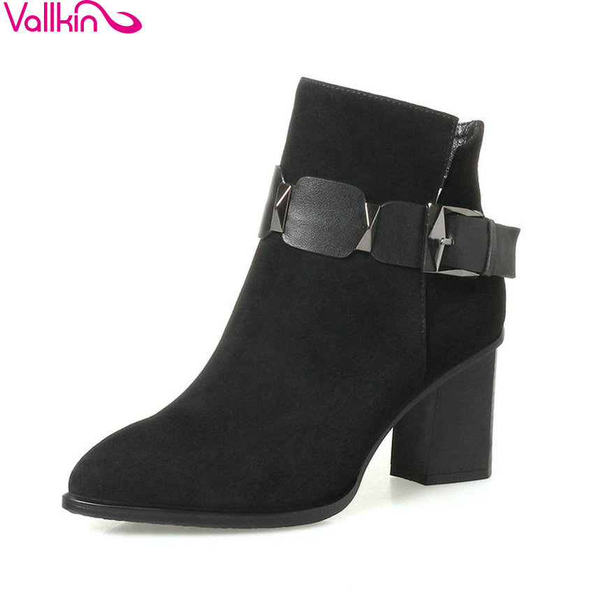 VALLKIN 2018 Women Boots Pointed Toe Buckle Western Style Square High Heel Ankle Boots Short Plush/PU Ladies Boots Size 34-42 vallkin 2018 women boots elegant pointed toe square high heels ankle boots short plush pu lining black ladies boots size 34 42