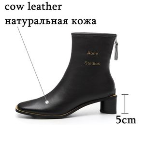Image 4 - ALLBITEFO High quality genuine leather women boots Pure color Autumn Winter comfortable ankle boots fashion boots Square toe