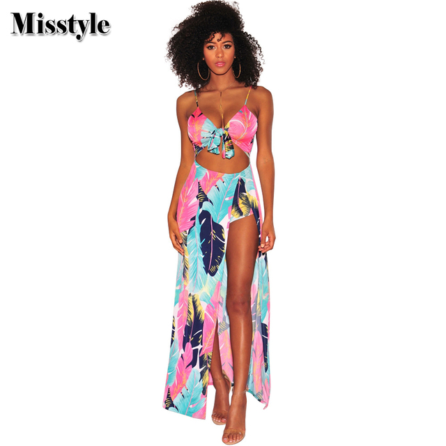 f21a74e79097 Misstyle Tropical Spaghetti Strap Playsuit Sexy Women Deep-V-Neck Abdomen  Hollow Out Knot Jumpsuit Slit Beach Style Jumpsuits