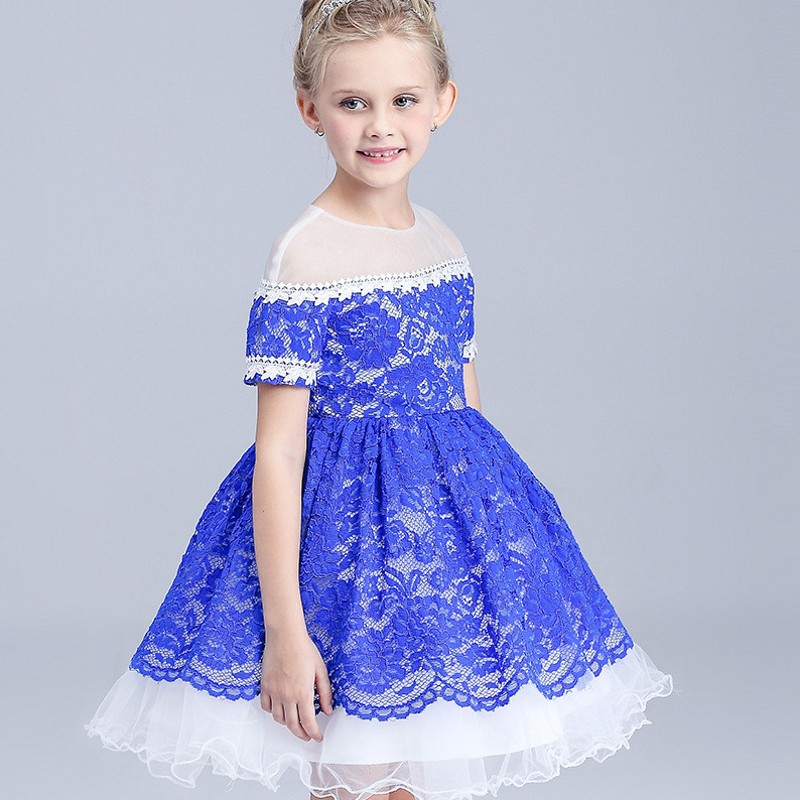 Girls Lace Dresses Summer 2018 Short Sleeves Flower Girl Dresses For Party And Wedding Kids Princess Dress Age 5 6 8 10 12Years summer 2017 new girl dress baby princess dresses flower girls dresses for party and wedding kids children clothing 4 6 8 10 year