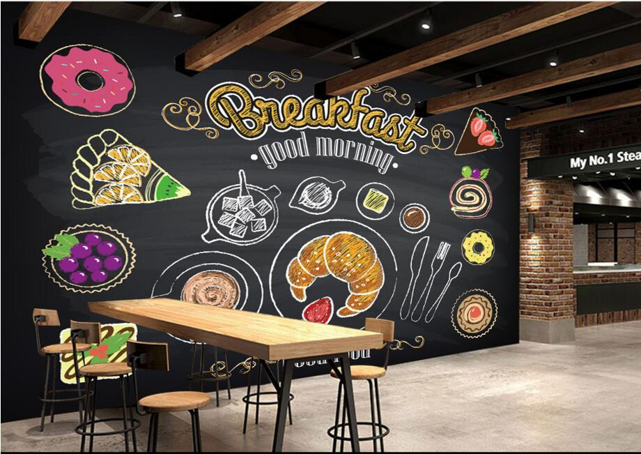 Custom restaurant wallpaper hand painted coffee breakfast for Cafe mural wallpaper