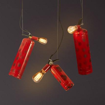 купить Industrial Vintage Pendant Lights Red Fire Extinguisher Loft Pendant Lamp Creative Hanglamp Fixture For Home Lightings Luminaire недорого