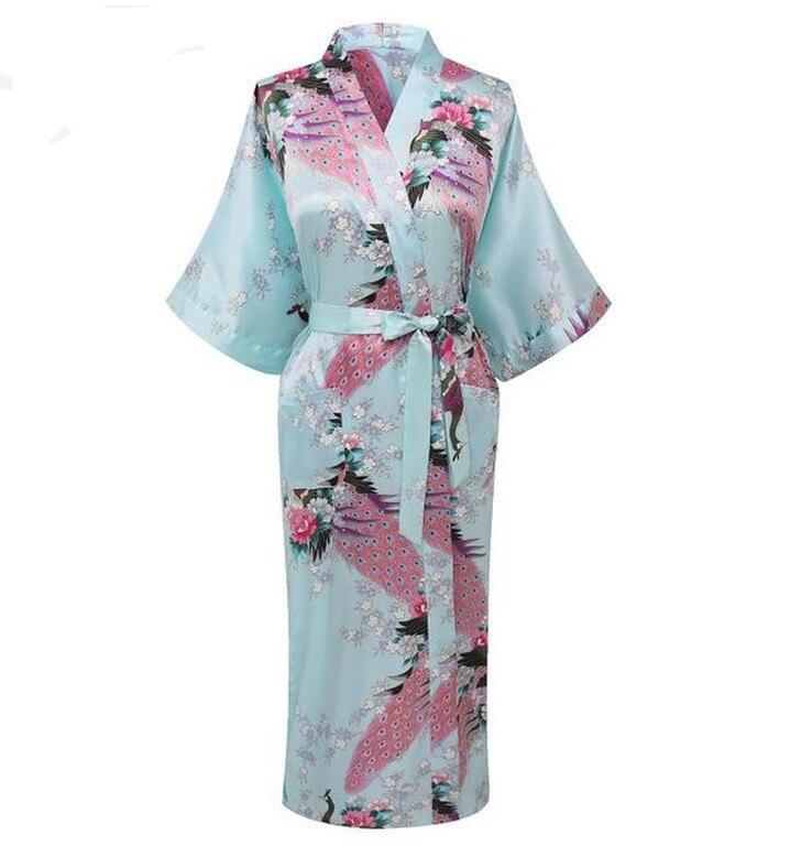 Hot Sale Light Blue Ladies Robe Kimono Sexy Summer Nightgown Chinese Style Satin Rayon Bath Gown Size S M L XL XXL XXX NR050