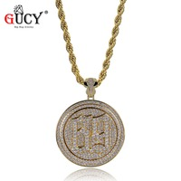 GUCY New Hip hop Rotatable 69 Saw Pendant Necklace Iced Out Cubic Zircon Saw Horror Movie Theme Necklaces Stainless Steel Chain
