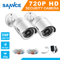 SANNCE AHD 720P 2PCS 1200TVL Bullet CCTV Camera Suite 1 0MP Waterproof IR Cut Night Vision