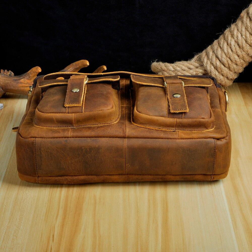 Maletín de cuero auténtico de estilo antiguo para hombres Le'aokuu Maletín de negocios de 13