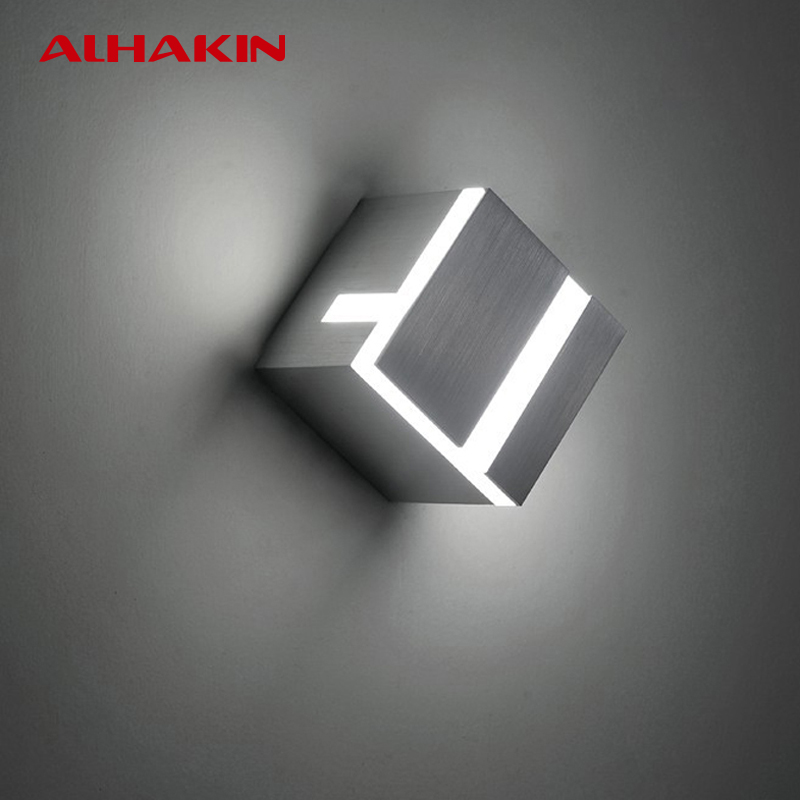 ФОТО ALHAKIN 9W Wall LED Light Stair Wall Light 4000K White Aluminum+ Acrylic Indoor Wall Lamp Bedside Lamp 85-265V Modern Luminaria