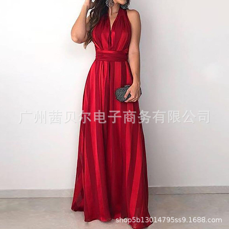 Summer Vintage Elegant Sundress Sexy Party Night Maxi Red Dress