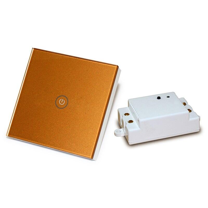 Saful Or Couleur 220 V Courant 1 Gang 1 Voies De Luxe Panneau Verre Cristal Télécommande LED Indicateur Tactile Commutateur