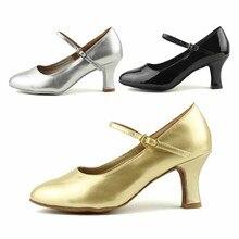 Hot vente en gros marque femmes moderne salle de bal latine Tango danse chaussures à talons noir argent couleur or WZJ