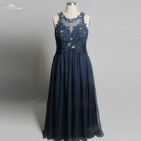 RSE805 Real Pictures Yiaibridal Keyhole Back Mother Of The Bride Dresses Vestido Longo Plus Size Navy Blue Dress