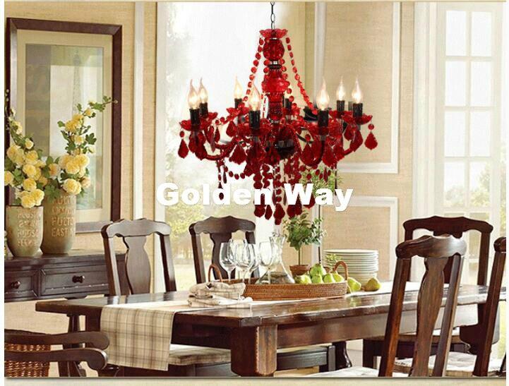Здесь продается  Free Shipping Red Color Tiffany Pendant Lamp 3/5/9/12 Heads Lights Vintage Acrylic Droplets Red Pendant Lighting AC110V/220V  Свет и освещение