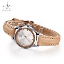 SK New Casual Ladies Watch White Leather Band Stainless Steel Shell Clock Women Fashion Dress Rhinestones Quartz Wristwatch 2017