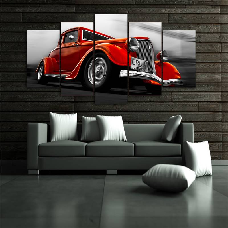 Classic Home Decor Pieces: ᗛ5 Pieces Orange Red Classic Car Module Poster Modern Wall