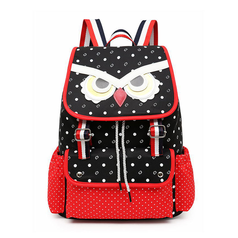 Canvas Owl Backpack for Girl Cartoon Printing Kids Bag Children School Bags For Teenager ...