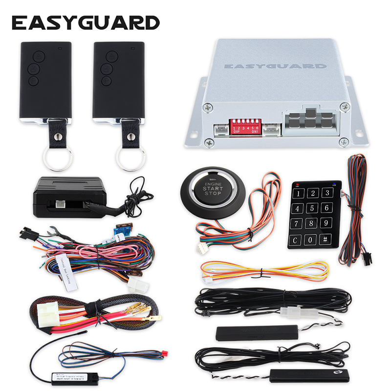 EASYGUARD Smart key PKE car alarm system remote engine start push button start touch password entry immobilizer bypass module