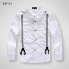 TZCZX 1pcs Children Boys Fashion Classic White Cotton Long sleeve Shirts for Kids Clothes boys Strap shirts