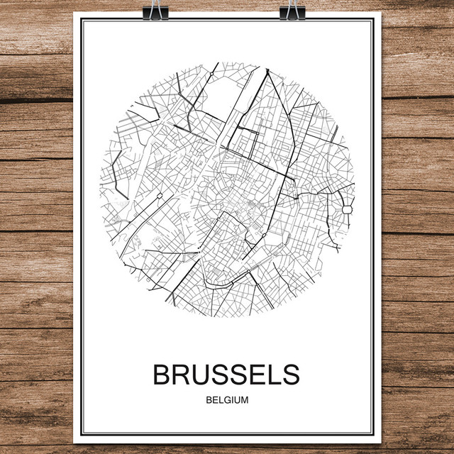 famous world city street map brussels belgium print poster abstract coated paper cafe bar living room