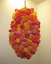 Darmowa wysyłka śliczne lampy pomarańczowy szklany żyrandol w kształcie kuli