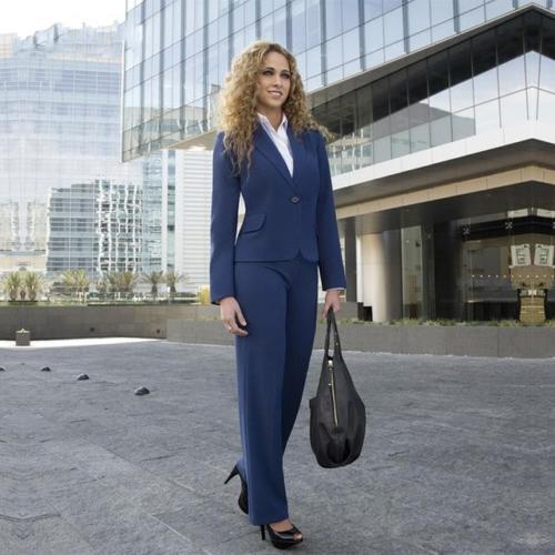 Navy Ladies Trouser Suits Womens Professional Business Uniform Set Female Office Work Trouser Suits B317