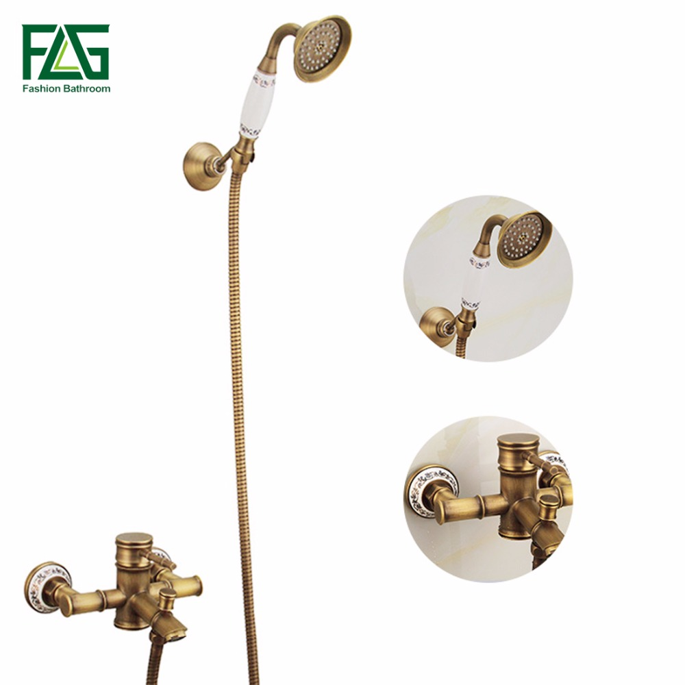 FLG Bathroom Shower Set Bath Wall Mounted Hand Held Antique Brass Bathroom Shower Mixer Faucet Head Kit Faucet Sets antique brushed brass bathroom faucet bath faucet mixer tap wall mounted hand held shower head kit shower faucet sets hf 6656f
