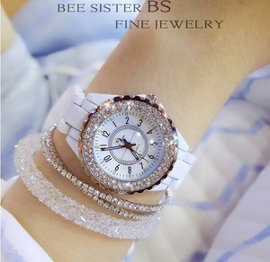 Image 3 - נשים ריינסטון שעונים ליידי יהלומי אבן שמלת שעון שחור לבן קרמיקה גדול חיוג צמיד שעוני יד גבירותיי קריסטל שעון