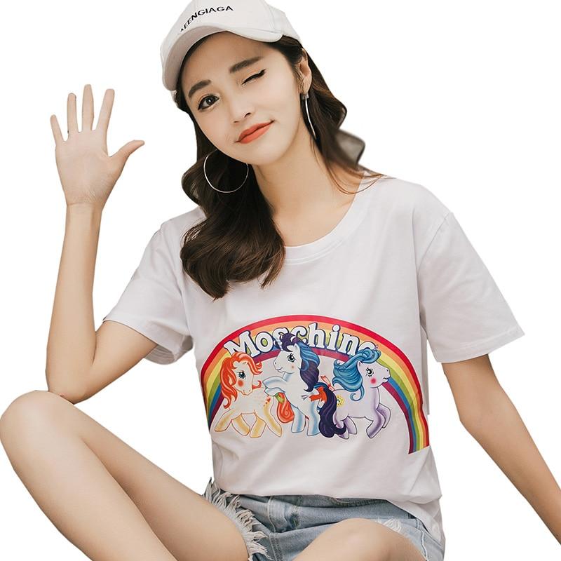 Women Summer Tops Pure Cotton O-neck Rainbow Unicorn Printed Tshirts camiseta feminina Harajuku tumblr Befree t shirt women