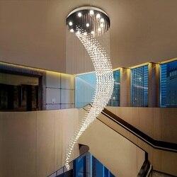 Romantyczny kryształ Hanglamp doprowadziły zawieszki światła oprawy oświetleniowe domu luksusowe Duplex lampa wisząca Hotel księżyc kształt oprawa Suspendu w Wiszące lampki od Lampy i oświetlenie na