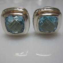 Серьги из стерлингового серебра 11 мм с голубым топазом черный