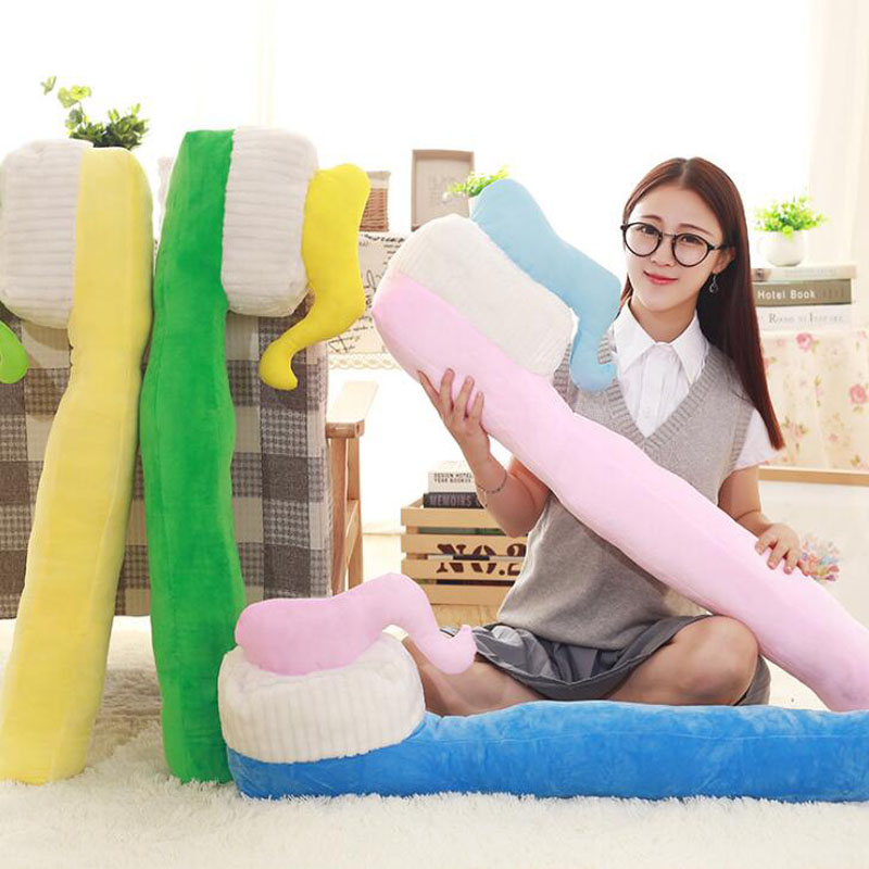90CM One Piece Creative Toothbrush Pillow PP Cotton Stuffed Sleeping Pillows Plush Toy Sofa Decoration Office Cushions 4 Colors