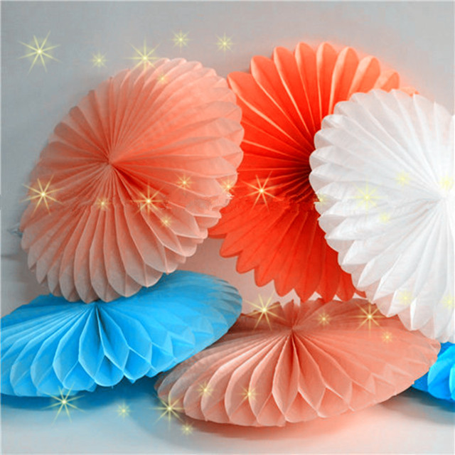 Christmas Decorations 30CM 6PCS Flower Origami Paper Fan Wedding Decoration Home Birthday Party
