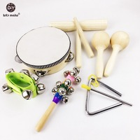 11pcs Musical Drum Wood Development Toys Plastic And Metal Musical Instruments Baby Toys Montessori Toys