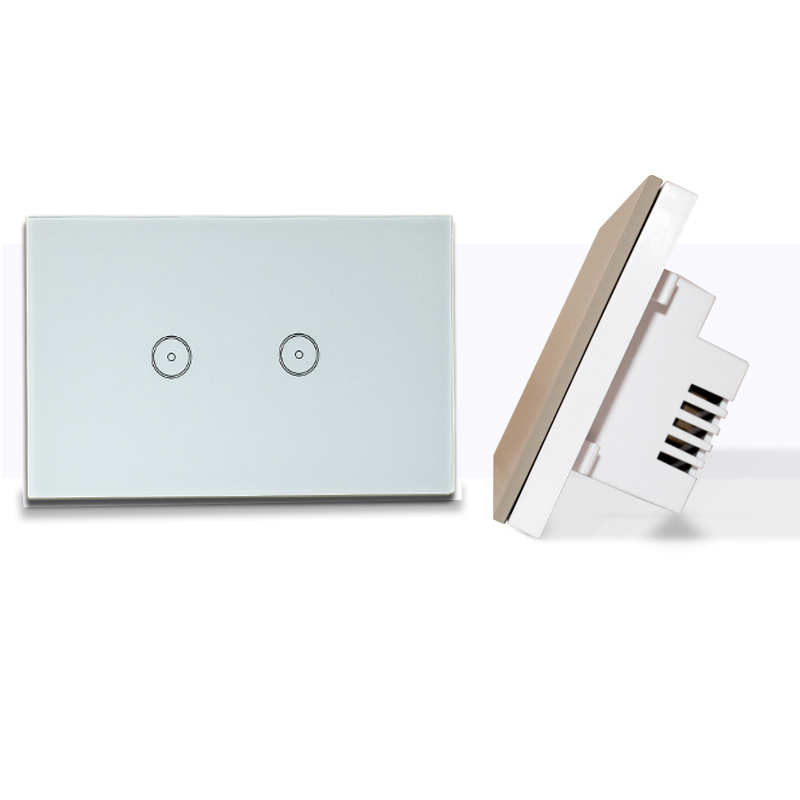Manufacturer Xenon Smart Switch Work with Alexa Wi-Fi Wall Switch Glass Panel 2-gang Ivory White US Touch Light Switch panel 2017 free shipping smart wall switch crystal glass panel switch us 2 gang remote control touch switch wall light switch for led