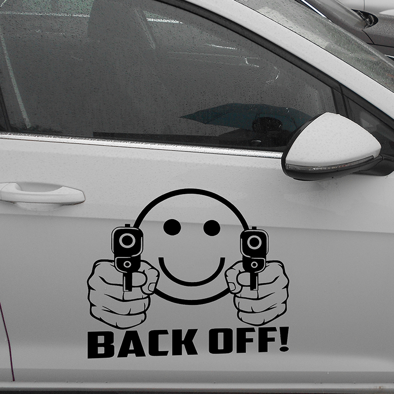 "58cm x 50.27cm 2 x Smiley Face Guns "" <font><b>Back</b></font> Off!\"" (one For Each Side)Vinyl Decal <font><b>Sticker</b></font> Car Window Wall Ammo Funny <font><b>Sticker</b></font>"