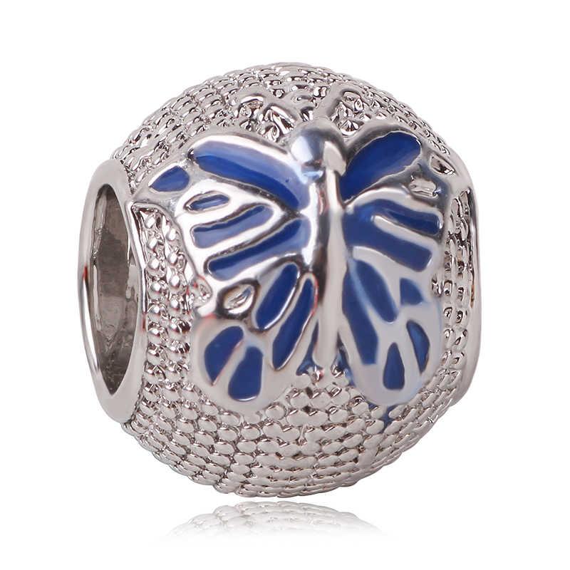 925 Silver Blue Style Star Christmas Butterfly Moon Snowflake Bead Fit Original Pandora Bead Bracelet Women Charm DIY Jewelry