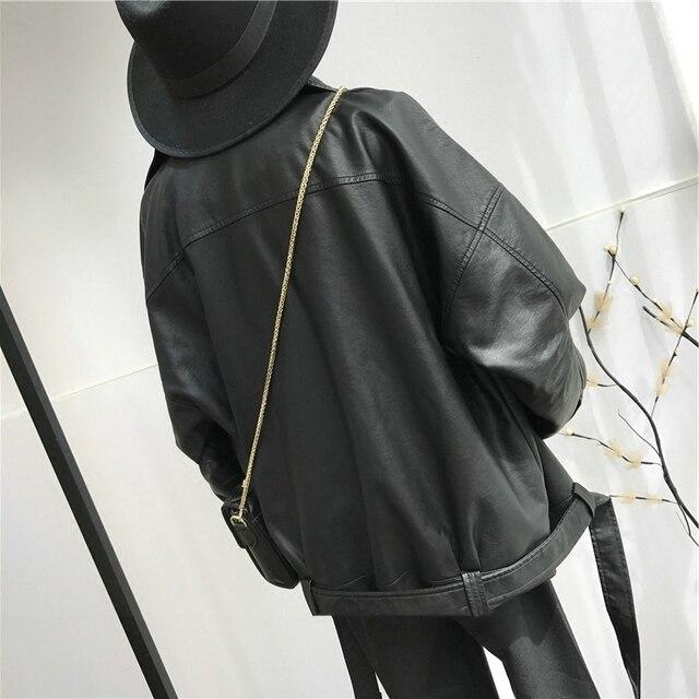 [EAM] haute qualité 2020 printemps cuir synthétique polyuréthane noir ample col rabattu fermeture éclair mode nouvelle veste sauvage pour femmes LA938 2