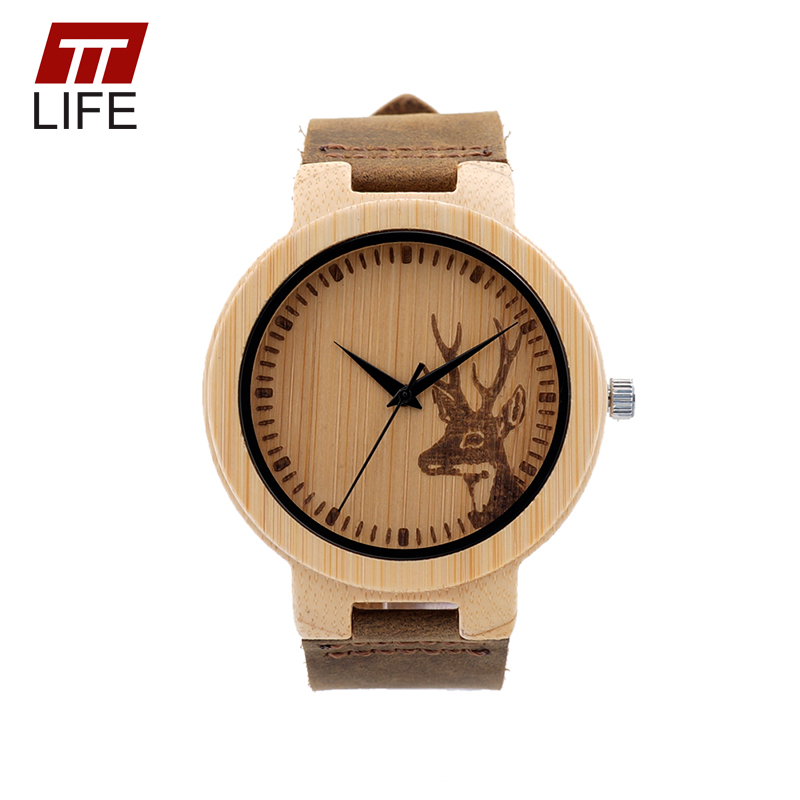 online get cheap engraved watches for men aliexpress com ttlife wd237 special design engraved deer wooden watches men special design quartz wristwatches luxury brand leather