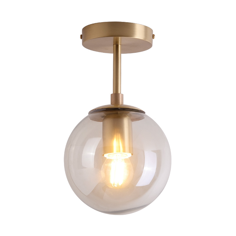 IWHD Nordic Glass Ball LED Ceiling Lights Balcony Porch Aisle Bedroom Copper Retro Vintage Ceiling Lamps Plafonnier Lighting