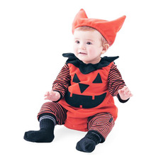 Baby Children Halloween Costume Baby Pumpkin One Piece + Hat 3 Piece Set Performance newborn Pumpkin One Piece + Hat 3 Piece Set цена